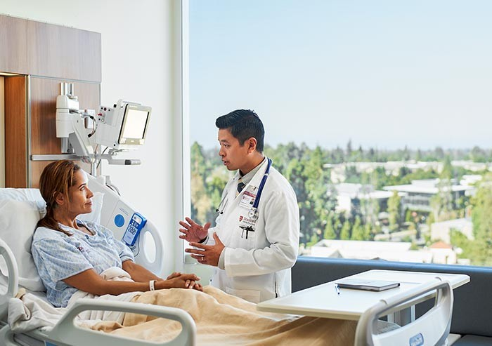 doctor and patient in one of the new stanford hospital private rooms